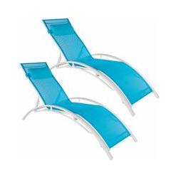 2 Gartenliegen aus Aluminium, 5-stufig - Gartenliege, Liegestuhl, Relaxliege - blau