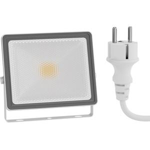 LED Außen-Strahler FLIN, Scheinwerfer, IP66 wasserfest, mit Stecker weiß 10W 800lm warm-weiß