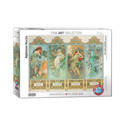 empireposter Puzzle Alphonse Mucha - Die vier Jahreszeiten - 1000 Teile Puzzle Format 68x48 cm., 1000 Puzzleteile