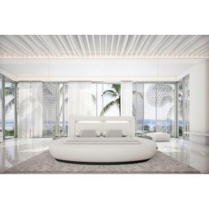 SalesFever Rundbett, mit LED-Beleuchtung im Kopfteil, Design Bett in Kunstleder, Lounge Bett mit stimmungsvollem Licht, Rundbett weiß 304 cm x 250 cm x 100 cm