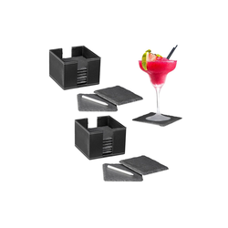 relaxdays Getränkeuntersetzer 16 x Schiefer Untersetzer mit Box