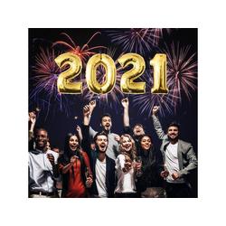 "MyBeautyworld24 Folienballon Folienballon für Silvester ""2021"" Neujahr Zahlenballon Happy New Year in der Farbe gold Heliumballon Party Riesenzahl Luftballon Deko 100 cm"