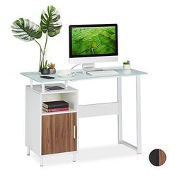 Schreibtisch mit Glasplatte weiß
