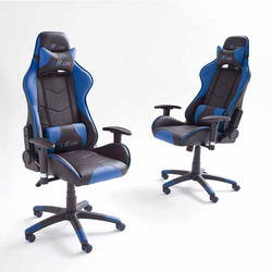 Büro Drehstuhl in Schwarz Blau Racer Design