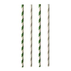 Papstar Pure Trinkhalme, Papier, Trinkröhrchen aus Papier, 1 Packung = 25 Stück, Stripes, einzeln gehüllt