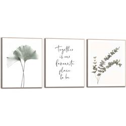 Reinders! Wandbild Zusammen Eukalyptus - Pflanze - Ginkgo - Natur - Liebe, (3 Stück) grün