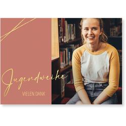 Jugendweihe Dankeskarten (10 Karten) selbst gestalten, Goldene Jugendweihe Danke - Pink