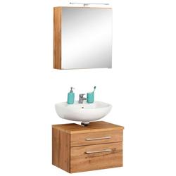 HELD MÖBEL Badmöbel-Set Davos, (2-tlg), Spiegelschrank und Waschbeckenunterschrank braun