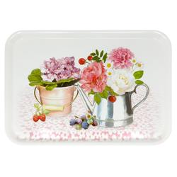 Lashuma Tablett Pfingstrose, Melamin, Geschirrtablett eckig, italienisches Serviertablett bunt 31 cm x 45 cm x 2 cm