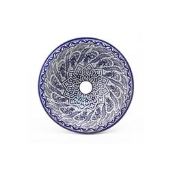 Casa Moro Waschbecken Casa Moro Orientalisches Keramik-Waschbecken Fes80 Ø 35 cm blau weiß rund, Marokkanisches Handwaschbecken für Küche Badezimmer Gäste-Bad, Einfach schöner Wohnen, WB35280, Handmade