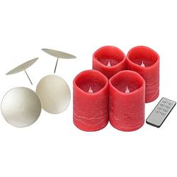 LED Adventskranzkerzen-Set, rot, 10 x 7,5 cm Ø, mit Timer