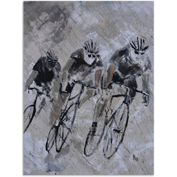 Artland Wandbild Fahrrad fahren im Regen, Fahrräder (1 Stück) 45 cm x 60 cm