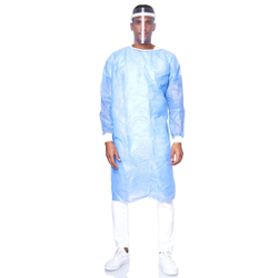 Pano PP Besucherkittel, blau, Atmungsaktiver Kittel für medizinische Zwecke, unsteril, 1 Stück, Einheitsgröße, 35g
