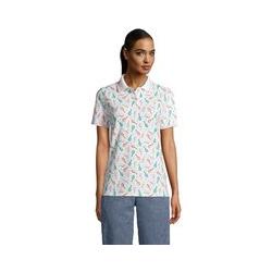 Piqué-Poloshirt, Damen, Größe: L Normal, Weiß, Baumwolle, by Lands' End, Weiß Tennis Druck - L - Weiß Tennis Druck
