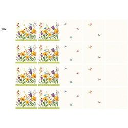 Wall-Art Fliesenaufkleber Fliesenaufkleber Blütenpoesie (20 Stück) 20 cm x 20 cm x 0,1 cm