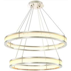 Casa Padrino Luxus LED Kronleuchter Silber / Weiß Ø 85 cm - Moderner runder Kronleuchter - Wohnzimmer Kronleuchter - Hotel Kronleuchter