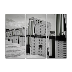 Bilderdepot24 Leinwandbild, Leinwandbild - Strandkörbe - schwarz weiß 90 cm x 60 cm