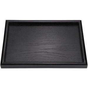 Yonhchop 1 stück Schwarz Rechteck Form Holz Solide Tee Kaffee Snack Essen Tablett Platte Home Restaurant Tabletts