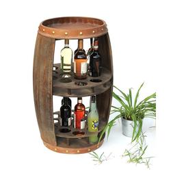 DanDiBo Weinregal Weinregal Holz Weinfass Braun 83 cm 9045 Bar Flaschenregal Flaschenständer XL Fass Holzfass Weinschrank