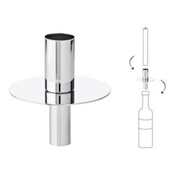 EDZARD Flaschenkerzenhalter Silber, Kerzenhalter aus Edelstahl mit Silber-Optik, Flaschen-Aufsatz für Stabkerzen, Höhe 8 cm silberfarben Kerzen Laternen Wohnaccessoires