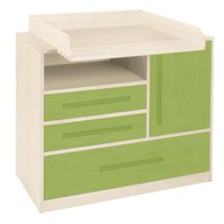 BioKinder - Das gesunde Kinderzimmer Wickelkommode Lina, Kommode mit Wickelaufsatz mit 3 Schubladen und 1 Tür grün