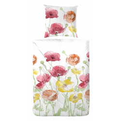 Sonderposten Satin Bettwäsche Blumen Weiß Rot 135x200 cm + 80x80 cm