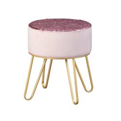 ebuy24 Pouf Belinda Fusshocker, Hocker rosa und gold.