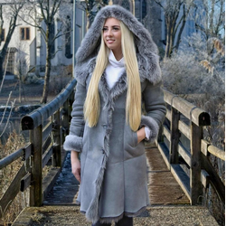 Hollert Winterjacke Damen Wintermantel Lammfellmantel Stella grau Merino Lammfell Mantel M
