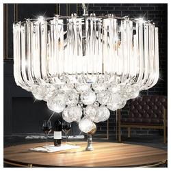 etc-shop Hängeleuchte, LED Hänge Leuchte Chrom Beleuchtung Acryl Kristall klar Wohn Zimmer Diele Flur