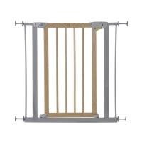 HAUCK Tür- & Treppenschutzgitter Deluxe Wood and Metal Safety Gate 75-81 cm silver/Wood