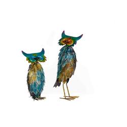 BIRENDY Dekofigur Riesiges schönes Metall Figurenpaar Eulen oder Enten WG Gartenfigur Dekofigur