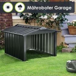 Mähroboter Garage mit Satteldach   Rasenmäher Dach Carport aus Metall   86 × 98 × 63 cm