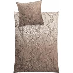 Bettwäsche Vero, Kleine Wolke, mit Palmenblattmuster braun 1 St. x 135 cm x 200 cm