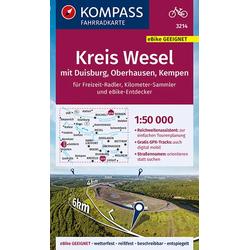 KOMPASS Fahrradkarte Kreis Wesel mit Duisburg Oberhausen Kempen 1:50.000 FK 3214