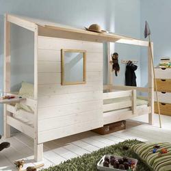 Infanskids Einzelbett mit Hüttendach-Bettaufsatz Kiefer massiv 90 x 200 cm Jugendbett
