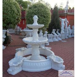 BAD-7192-B Gartenbrunnen mit Wasserbecken und 2 Brunnen Wasserschalen 162cm 655kg (Farbe: weiss)