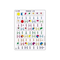 Larsen Puzzle Rahmen-Puzzle, 35 Teile, 36x28 cm, Brüche 1/2, Puzzleteile