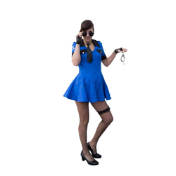 Sexy Polizei Kostüm Accessoire Set - Handschellen + Handschuhe + Netzstrumpfhose