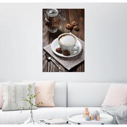 Posterlounge Wandbild, Tasse Kaffee mit Plätzchen 60 cm x 90 cm