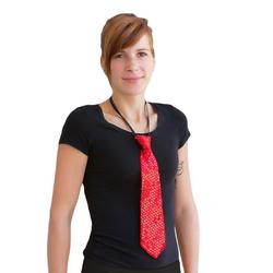 Krawatte Schlips Pailletten Glitzer - rot