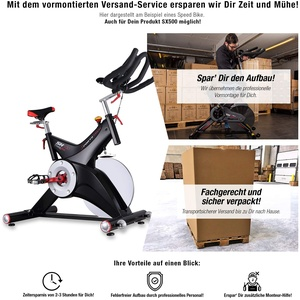 Sportstech Indoor Speedbike SX500 inkl. VORMONTAGE | Deutsche Qualitätsmarke + Video Events & Multiplayer APP | 25kg Schwungrad & leiser Riemenantrieb | Pulsgurt kompatibel + SPD Klickpedale |