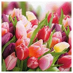 Linoows Papierserviette 20 Servietten, Ein Traum mit Tulpen in Pink und, Motiv Ein Traum mit Tulpen in Pink und Violett