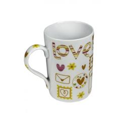 Kaffeetasse Teetasse mit Aufschrift Love und mit bunten Motiven