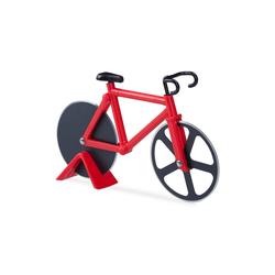 relaxdays Pizzaschneider Fahrrad Pizzaschneider rot