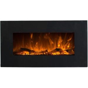 GLOW FIRE Elektrokamin mit Heizung, Wandkamin mit LED | Künstliches Feuer mit zuschaltbarem Heizlüfter: 750/1500 W | Fernbedienung (Größe S - 84 cm, Schwarz)