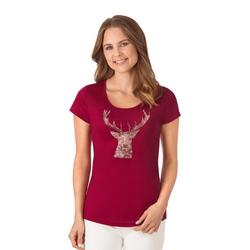 Trigema T-Shirt Glitzer-Hirsch rot XL