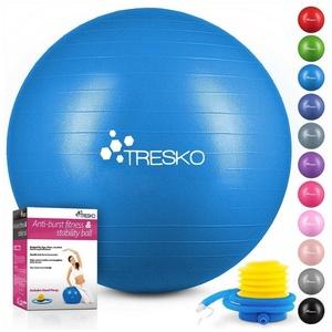 TRESKO Gymnastikball, Yogaball mit GRATIS Übungsposter inkl. Luftpumpe - Fitnessball BPA-Frei, Sitzball Büro, Sitzball Anti-Burst, 300 kg Belastbarkeit blau 85 cm