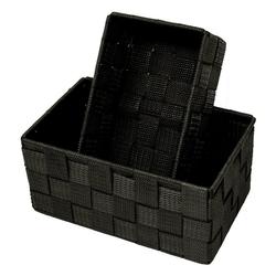 Lashuma Aufbewahrungskorb (Set, 2 Stück), 1x Badkorb 19x10x7 cm, 1x Aufbewahrungsbox 20x13x10 cm schwarz 19 cm x 7 cm x 10.00 cm