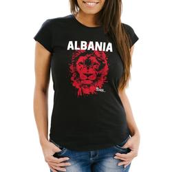 MoonWorks Print-Shirt Damen T-Shirt Fanshirt Albanien Albania Fußball EM WM Löwe Shqipërisë MoonWorks® mit Print XS