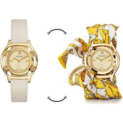Versace Schweizer Uhr Medusa Frame, VEVF00620, (Set, 2-tlg., Uhr mit Lederband und Seidentuch)